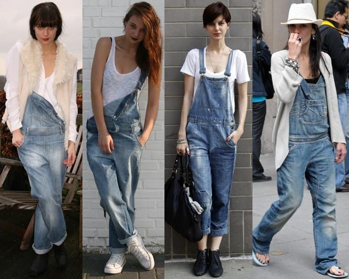 Modelos utilizando macacão jeans