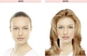 resultado obtido por um simulador de maquiagem
