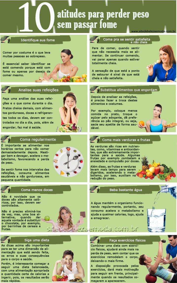 Infográfico: 10 atitudes para perder peso sem passar fome