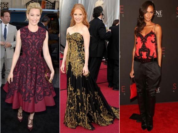 celebridades utilizando vestidos com estampa barroca