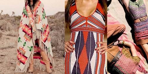 moda étnica inspirada nos índios americanos, nos asiáticos, astecas, nas tribos africanas, entre outras nacionalidades.