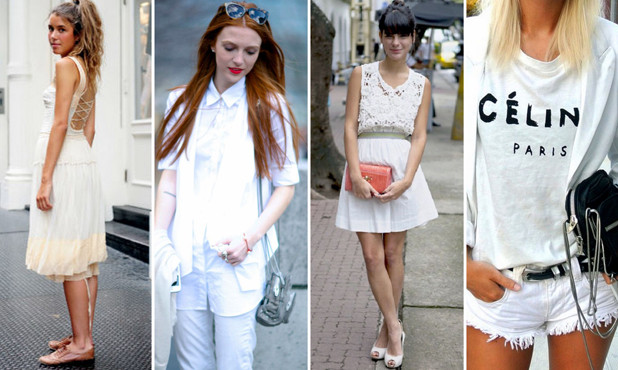 branco total combinado com diversas texturas, como jeans, acetinados, rendas, entre outros.