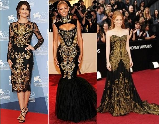 famosas utilizando vestidos com estampa barroca