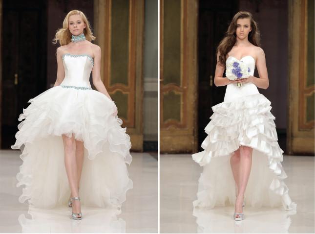 vestidos de noiva Mullet é aquele modelo mais curto na frente e longo atrás.
