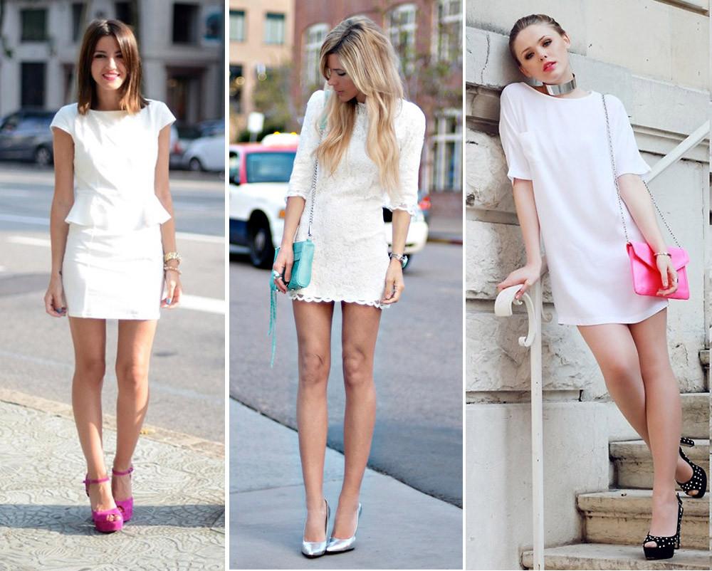 moda do branco total com sapatos poderosos, como modelos coloridos, com detalhes ou com joias clássicas