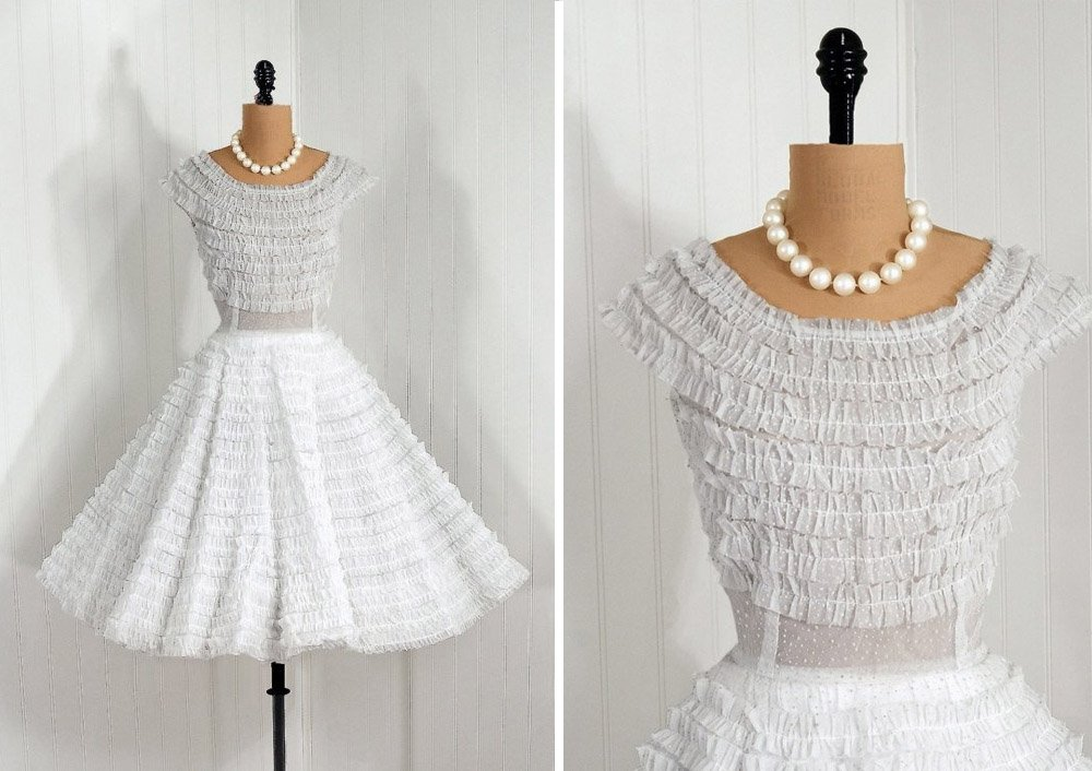 short vintage wedding dress 1