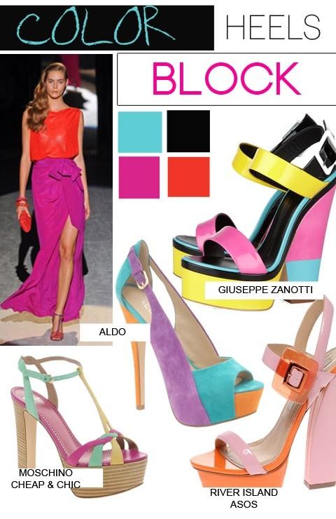 sapatos coloridos com salto bloco - block heels