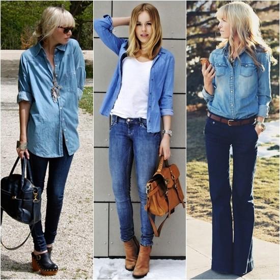 usando camisa jeans fechada