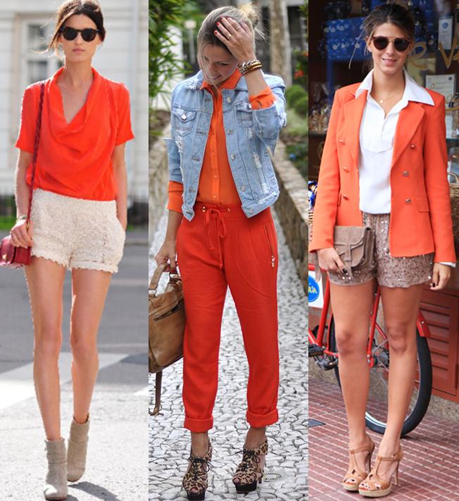 combinando o modelito cor laranja com outras cores