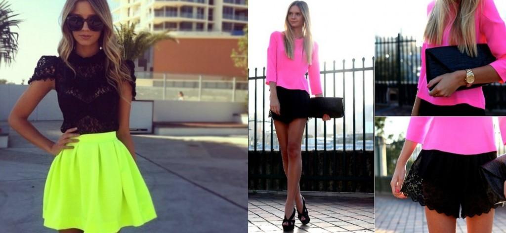 mistura de roupa preta e neon