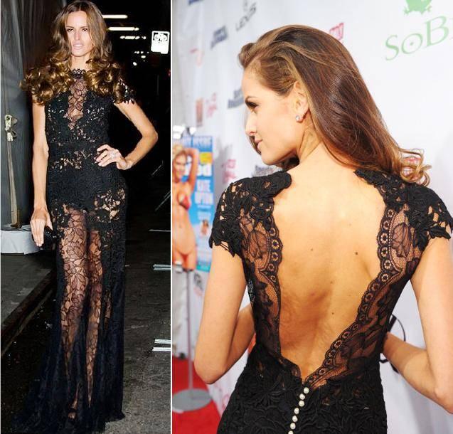Isabel vestido preto de renda com decote em V