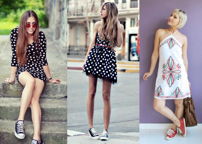 veja quais modelos de vestidos combinam com o tênis