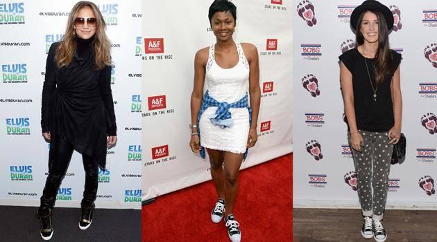 celebridades usando tênis