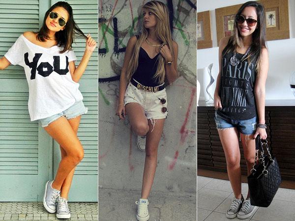 foto de garotas usando tênis