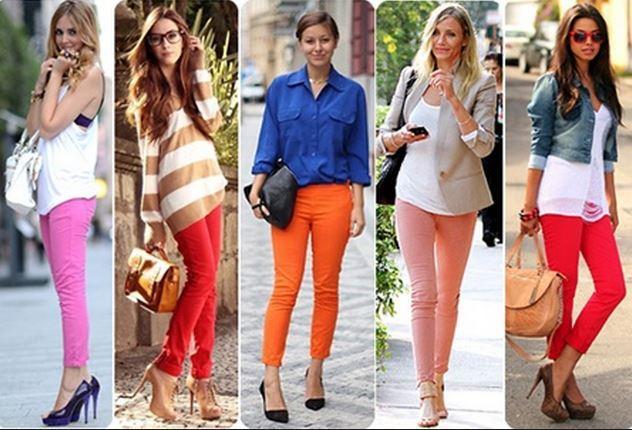 vários modelos de Calças Skinny Coloridas