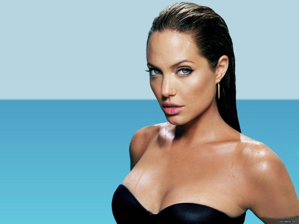 Angelina Jolie de Cabelo com Efeito Molhado