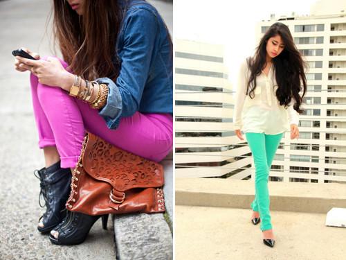Calças Skinny Coloridas moda verão