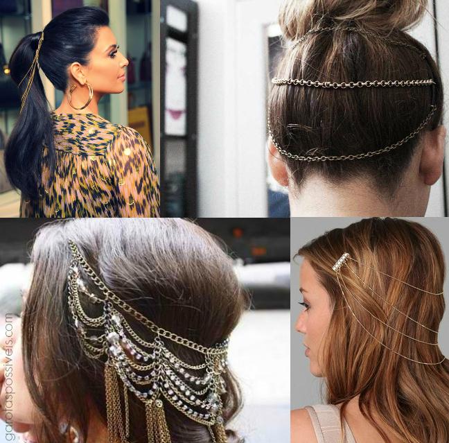 correntes para o cabelo