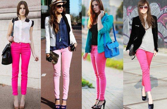 Calças Skinny Coloridas com tons de rosa