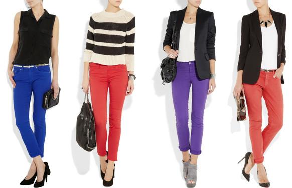 Calças Skinny Coloridas para mulheres discretas