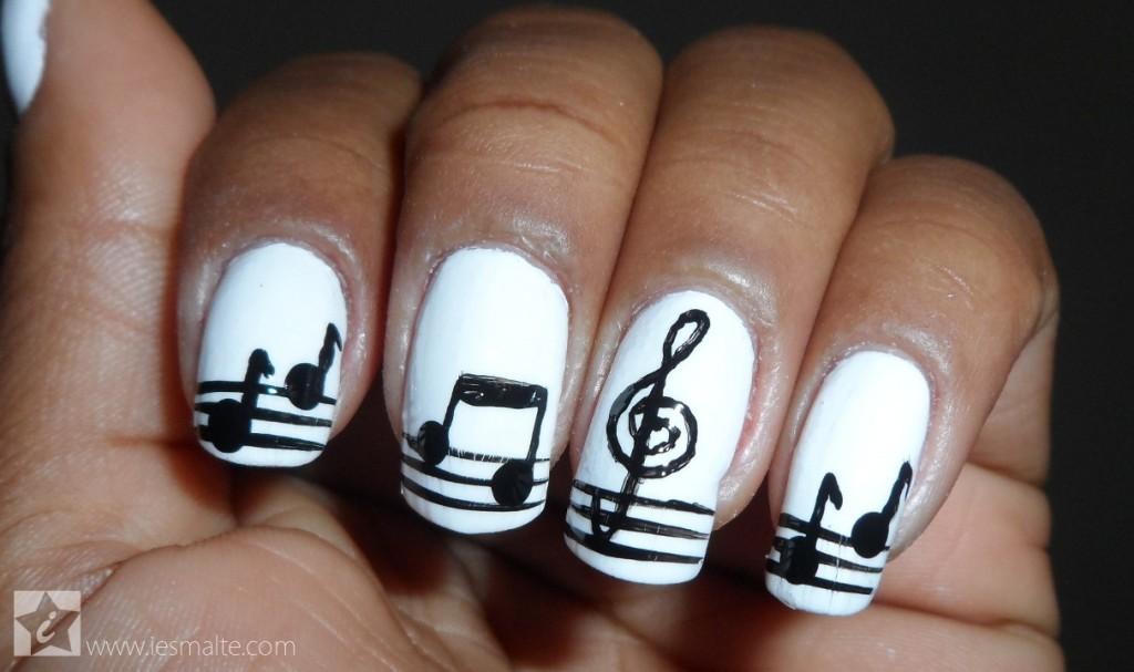 aprenda fazer nail art notas musicais passo a passo