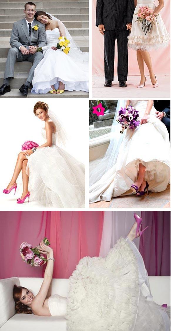 fotos de noivas com sapatos coloridos