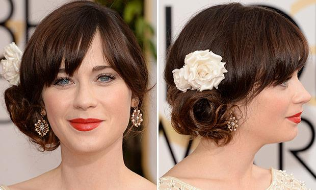 penteado da famosa atriz Zooey Deschanel