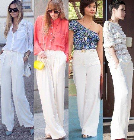 foto com modelos de calça branca Pantalona