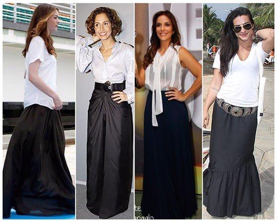 celebridades usando saias longas