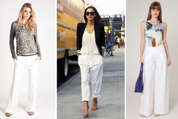vários modelos de calça branca