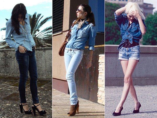 Camisa jeans com calça jeans