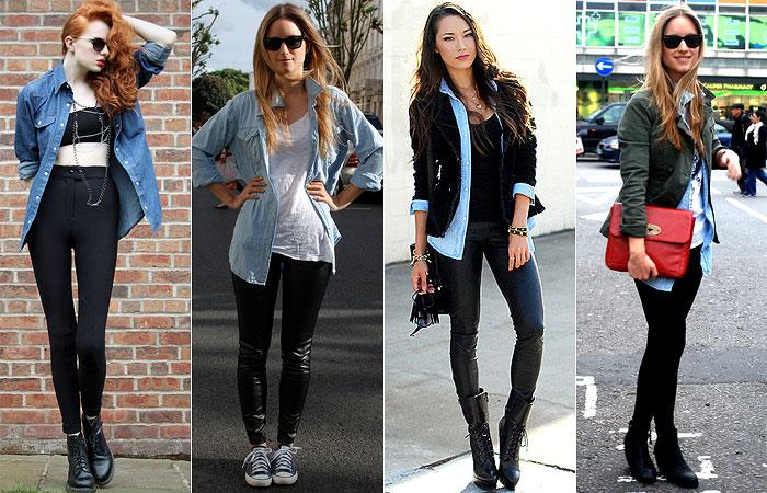 Camisa jeans com legging
