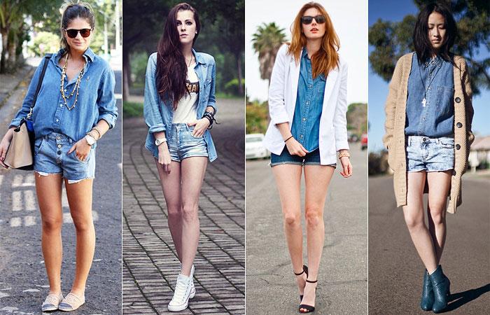 Camisa jeans com shorts