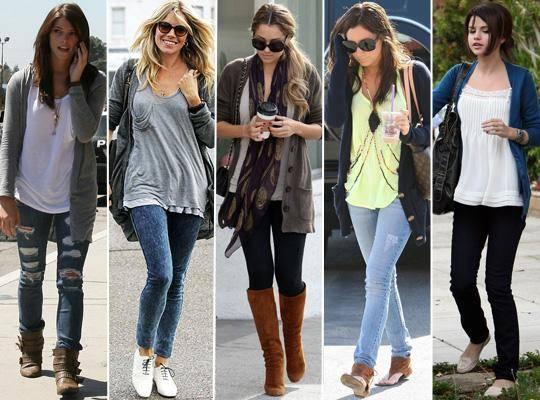 cardigã com calça jeans