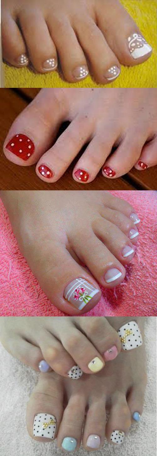 modelos variados de unhas decoradas para os pés