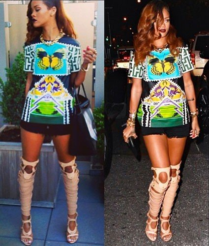 Rihanna usando Sandals boots