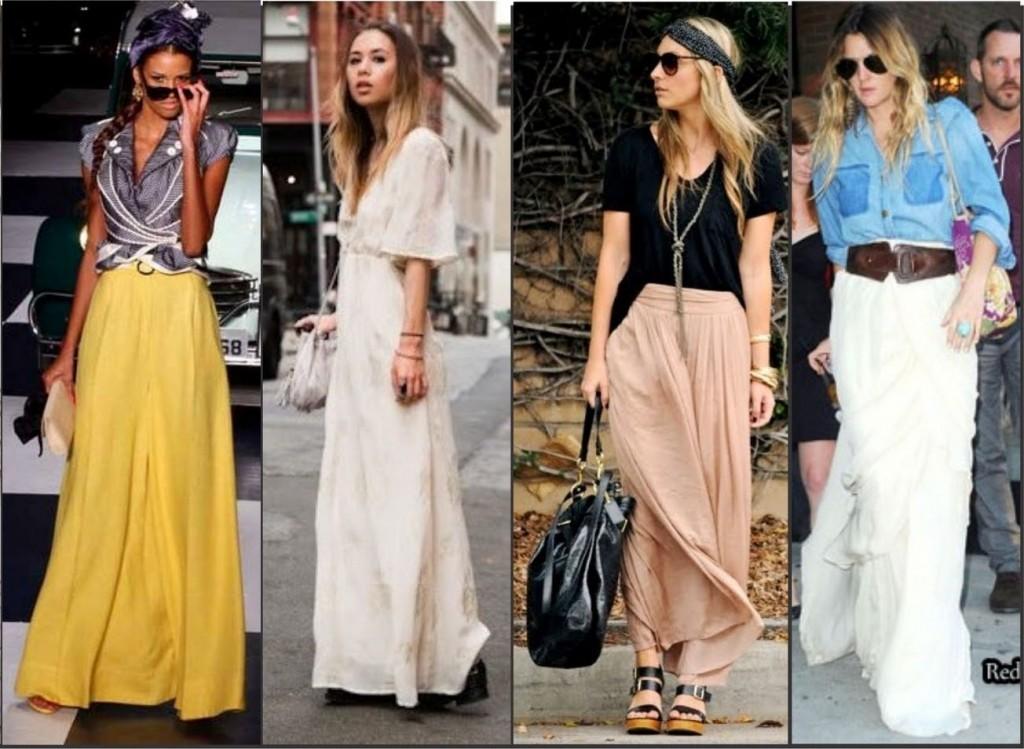saias longas são elegantes