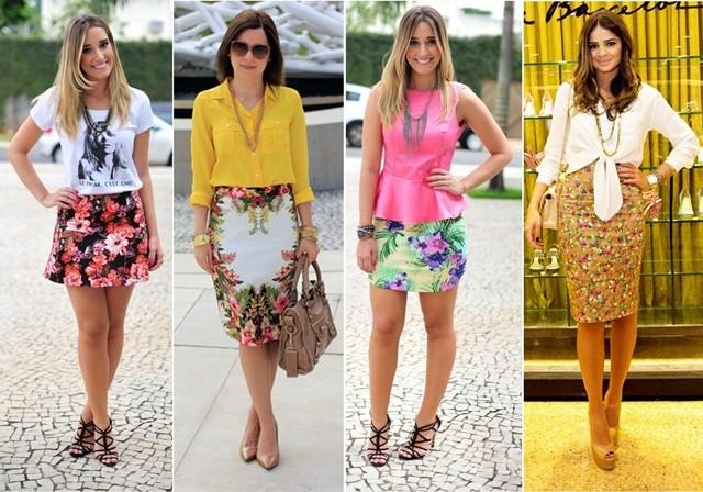 mulheres vestidas com saias estampadas