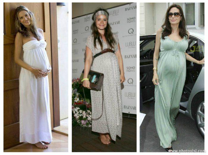 gestantes usando vestido longo