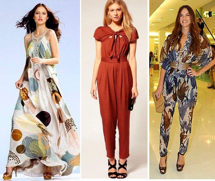look para mulher alta e magra usando roupas estampadas e longas