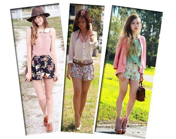 look delicado com short floral