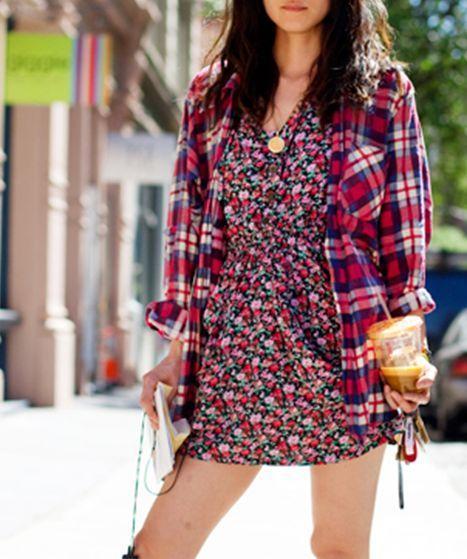 tendências da moda xadrez com floral