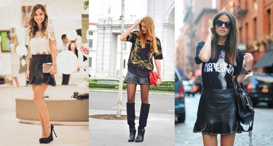 mulheres usando saia com babados na barra