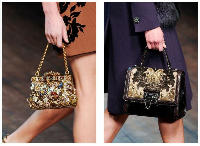bolsas como acessórios dourados para o inverno