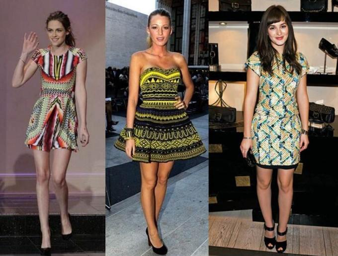 mulheres com vestidos estampados