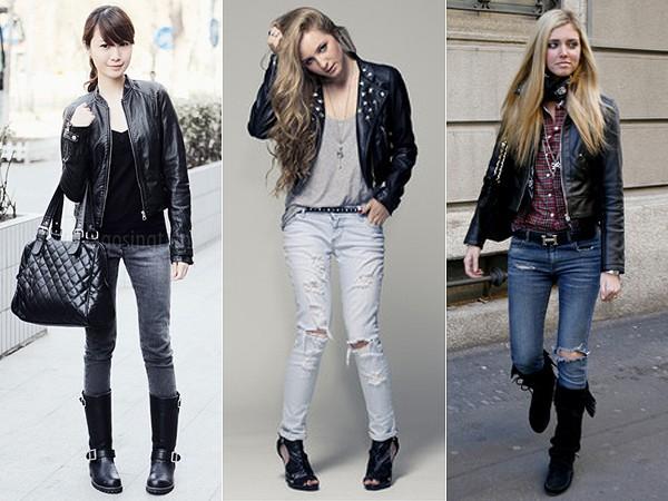 mulheres vestindo jaquetas de couro