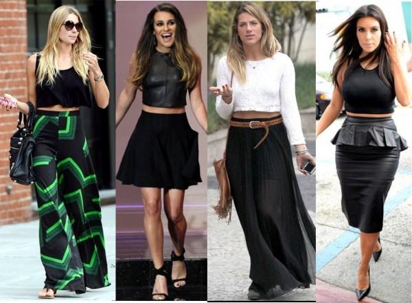 mini cropped para mulheres com quadris largos
