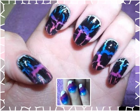 Nail Art: unhas craqueladas com esmaltes coloridos