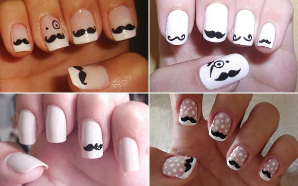 como fazer Unhas decoradas de bigodinho