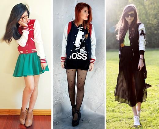 Varsity Jacket com peças mais femininas